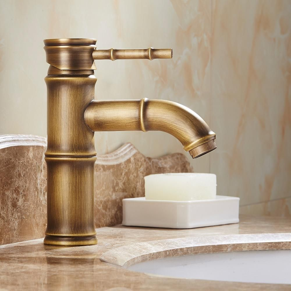 Antique Bamboo Bathroom Faucet Single Handle Bamboo Water Tap ...