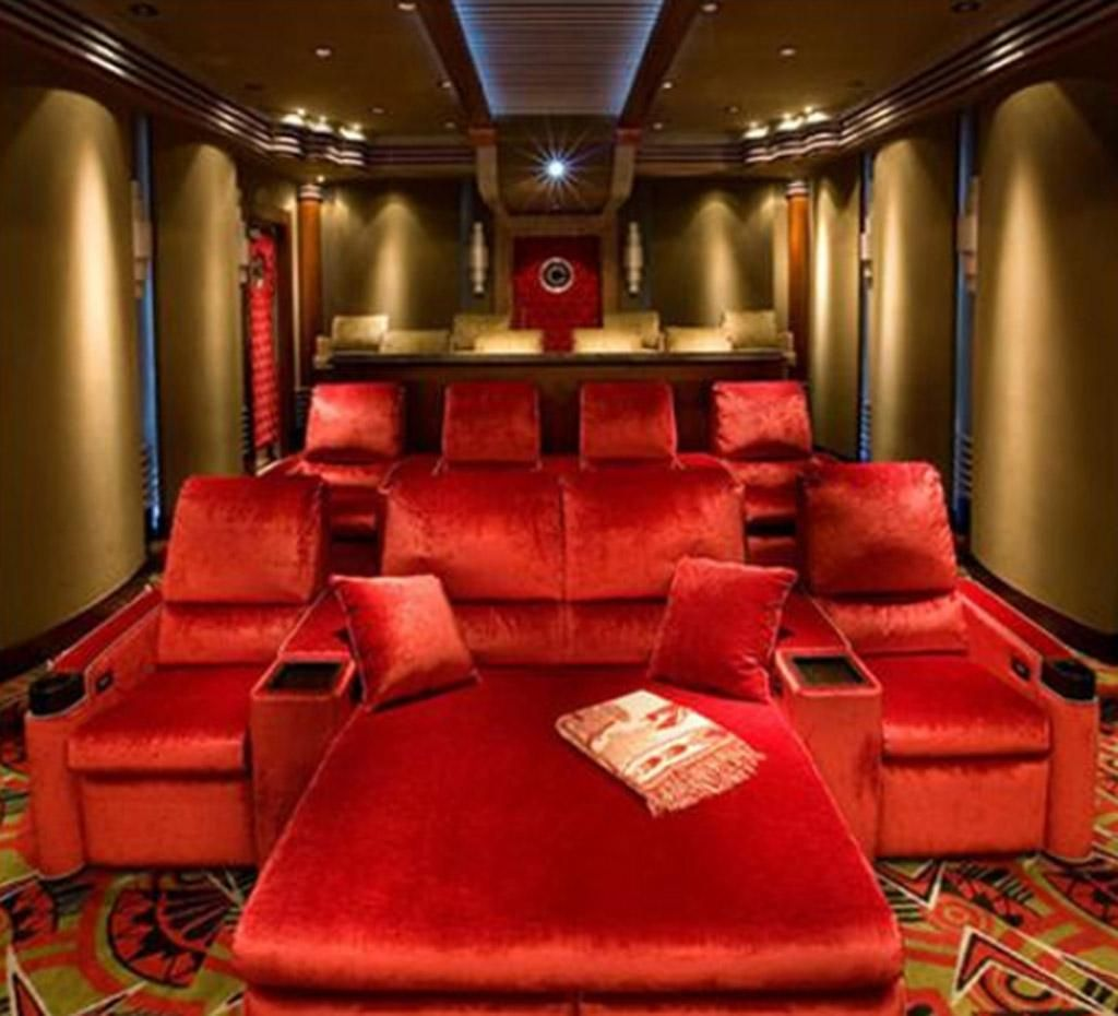 Elite home theater seating cuddle couch - Amusing Home Theater Room Design Decorating Ideas With Red Sofa And Reed Interior Design Theme Some