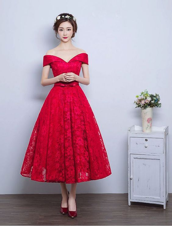 7e6a4c95bfc Red Lace Prom Dress