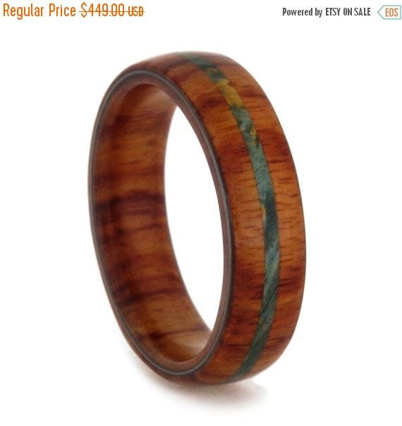 Tulip Wood Ring with Green Box Elder Burl Pinstripe Natural Womens