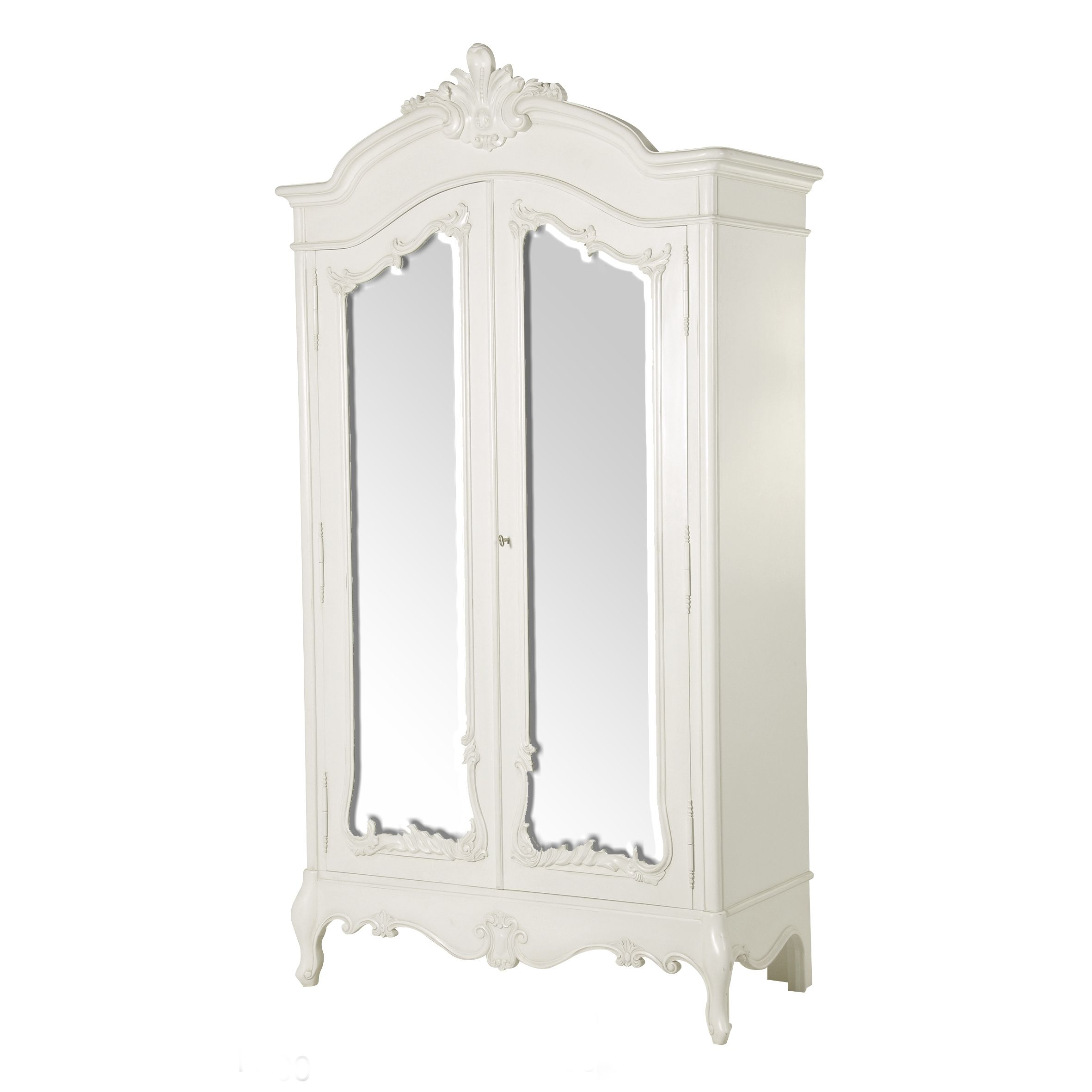 Classical white alexa double mirrored armoire sweet home apartment