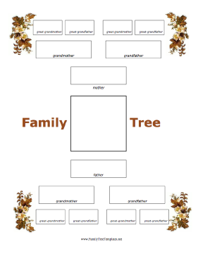 4 generation family tree with fall foliage template stationery
