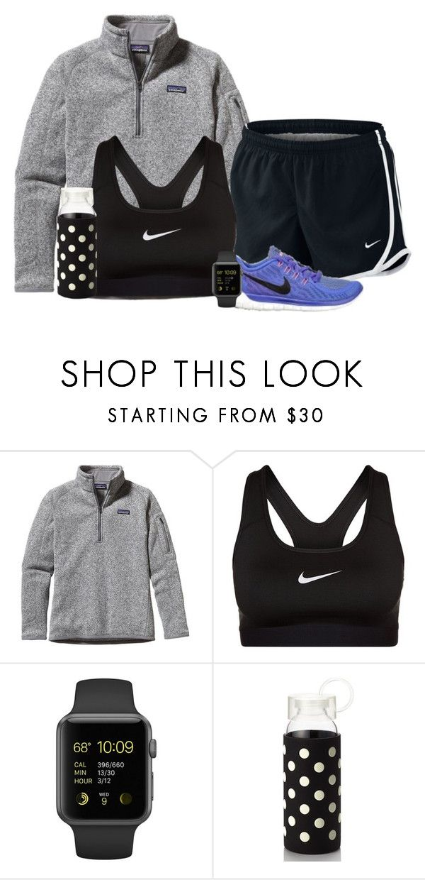 """""""Track practice in a bit. I'm gonna be so out of shape..."""" by sydneymellark ❤ liked on Polyvore featuring moda, Patagonia, NIKE, Kate Spade e athleticapparell"""