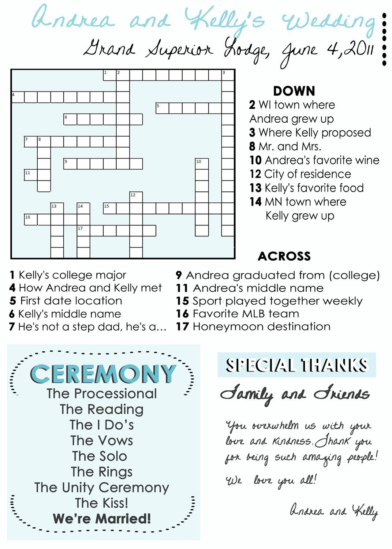 Wedding Program Fans: Custom crossword puzzle Wedding Programs ...