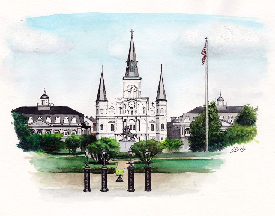 A private commission painting in watercolor, pen and ink of Jackson Square in New Orleans by artist Esther BeLer Wodrich. More information about private commissions or to purchase a print of this or others in the architecture series can be found at www.estherbeler.com/shop.