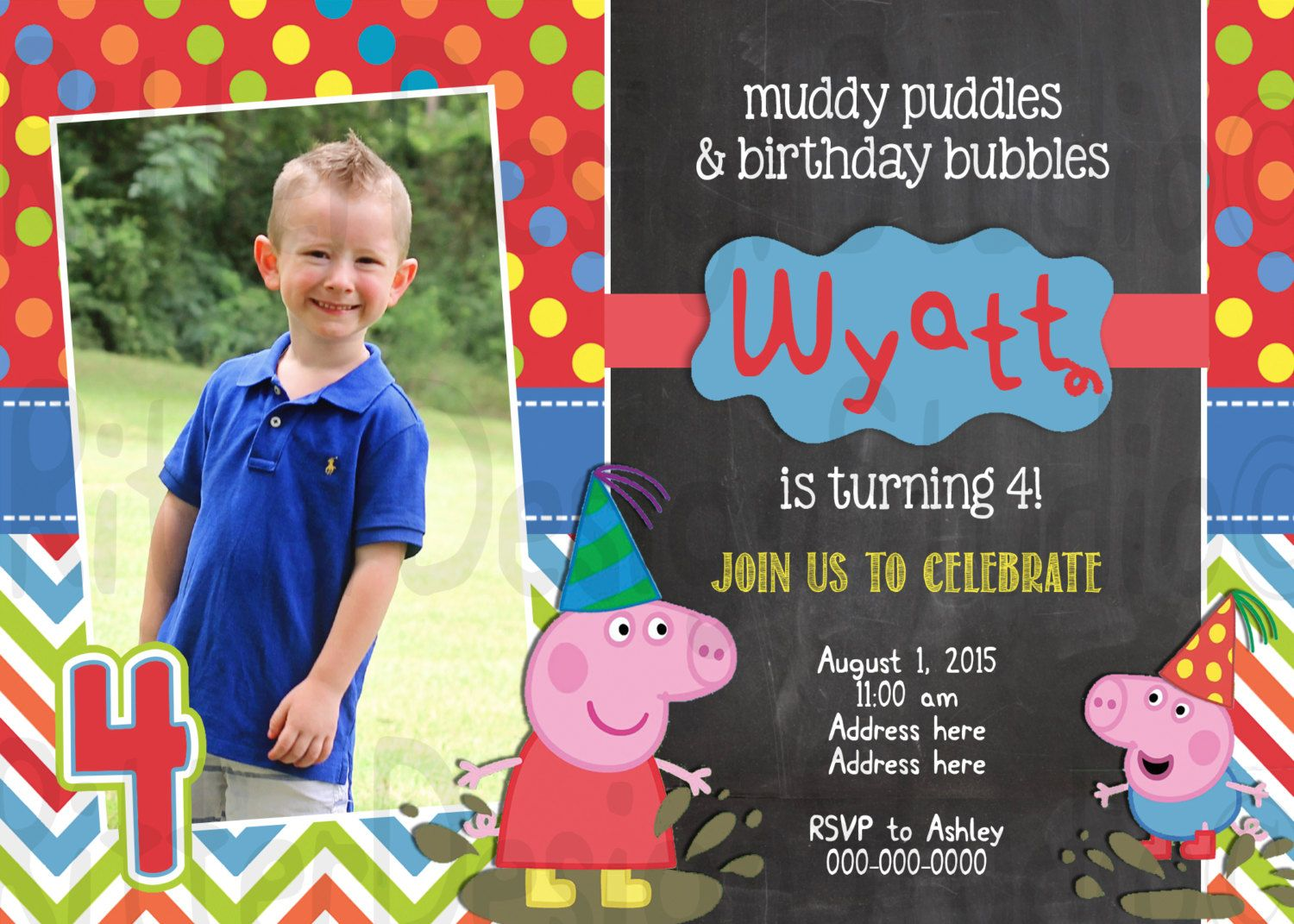 Peppa Pig Boy Birthday Invitation Printable Digital File By