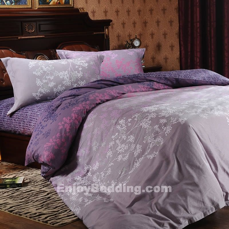 Purple And Grey Bedding Sets Gray And Purple Forest Bedding Sets