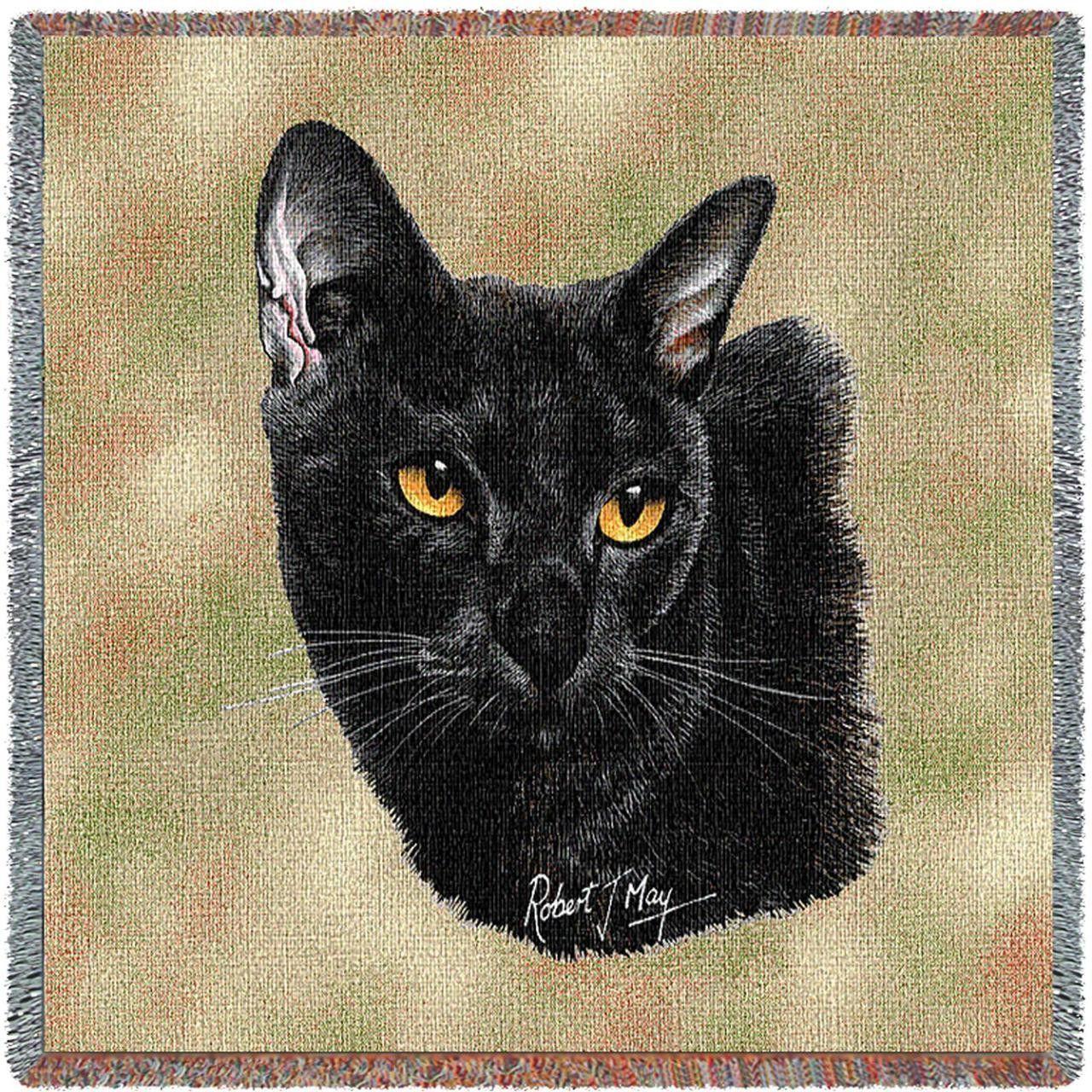 Bombay Cat Portrait Art Tapestry Lap Throw