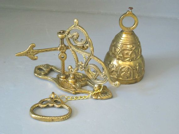 Vintage Brass Bell Wall Mount With Primitive Scene / Unusual Temple Bell,  Religious Bell,