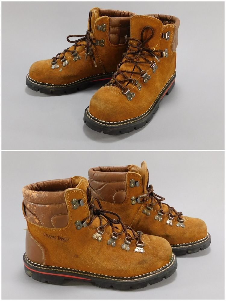 31e57c85f6f4f 1970's - 80's Vintage Brown Leather Lug Sole Hiking Boots by Ozark Trail, Sz  7.5 #OzarkTrail #Hiking