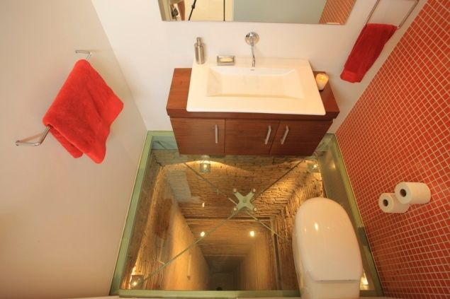 Crazy Bathroom Water Plumbing Mechanical Glass Floor Glass Bathroom Floor Design