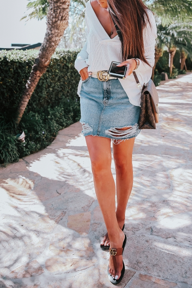 e4fbce88074 Cutest Outfit for Summer. Topshop ripped Denim skirt, t strap Gucci  Sandals, Louis
