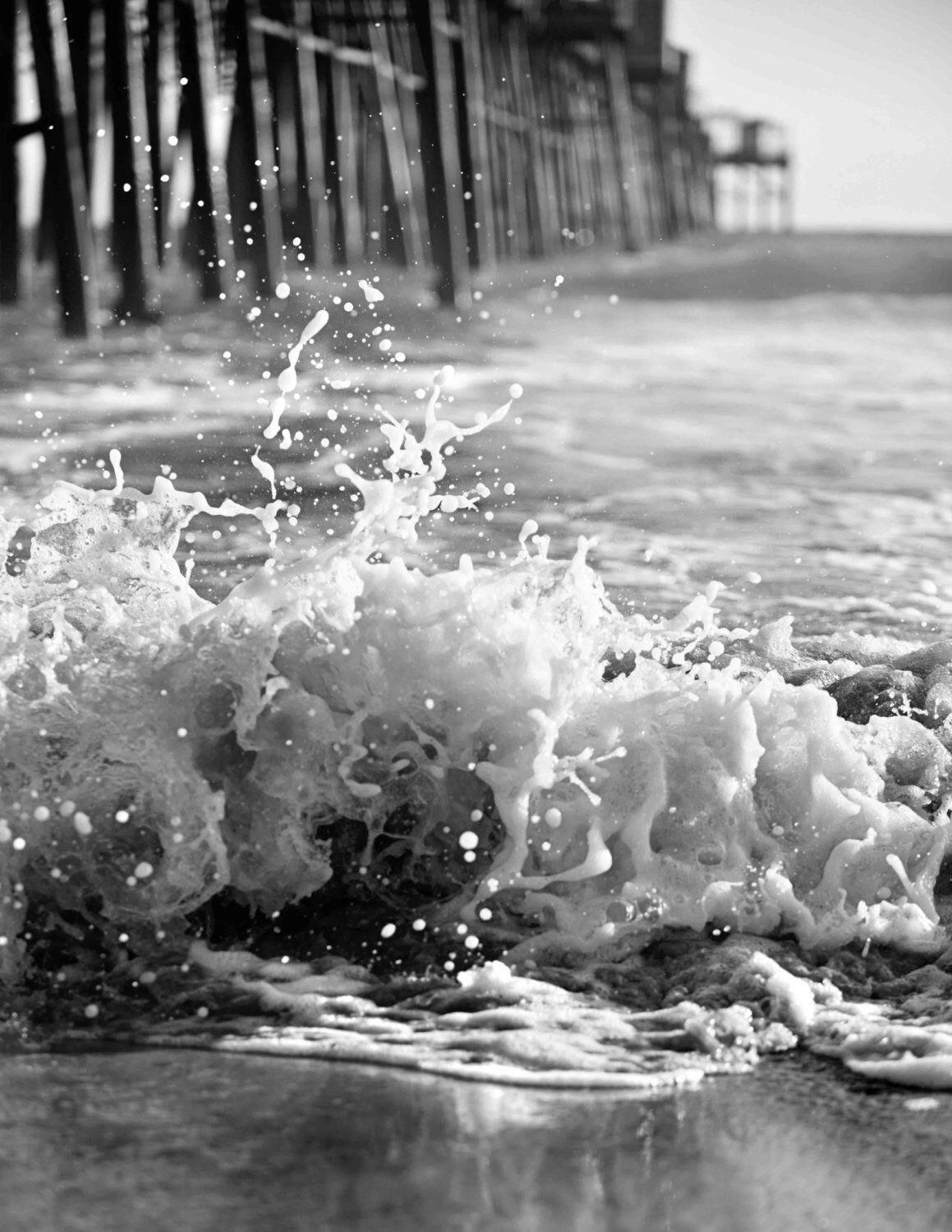 Black and White Pier Ocean Photography  Wave Splash Texture | Etsy