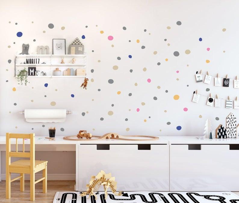Hand Drawn Polka Dots Wall Decals Multicolored Irregular Polka Dots Wall Stickers Imperfect Wall Decal Dots Nursery Kids Room Decal Wandsticker Kinderzimmer Wandaufkleber Kinderzimmer Wandtattoo Kinderzimmer
