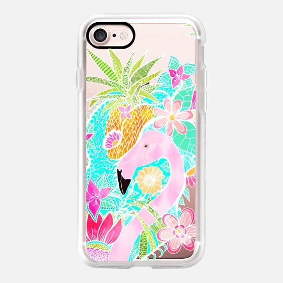 Modern pink turquoise pineapple watercolor tropical pink flamingo transparent by Girly Trend - Classic Grip Case