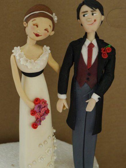 Happy Couple Wedding Cake Topper  Cake by ScrummyMummy