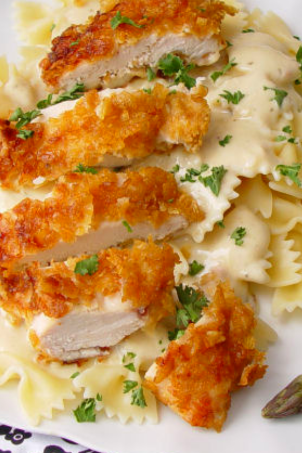 Crispy Chicken with Italian Sauce and Bowtie Noodles images