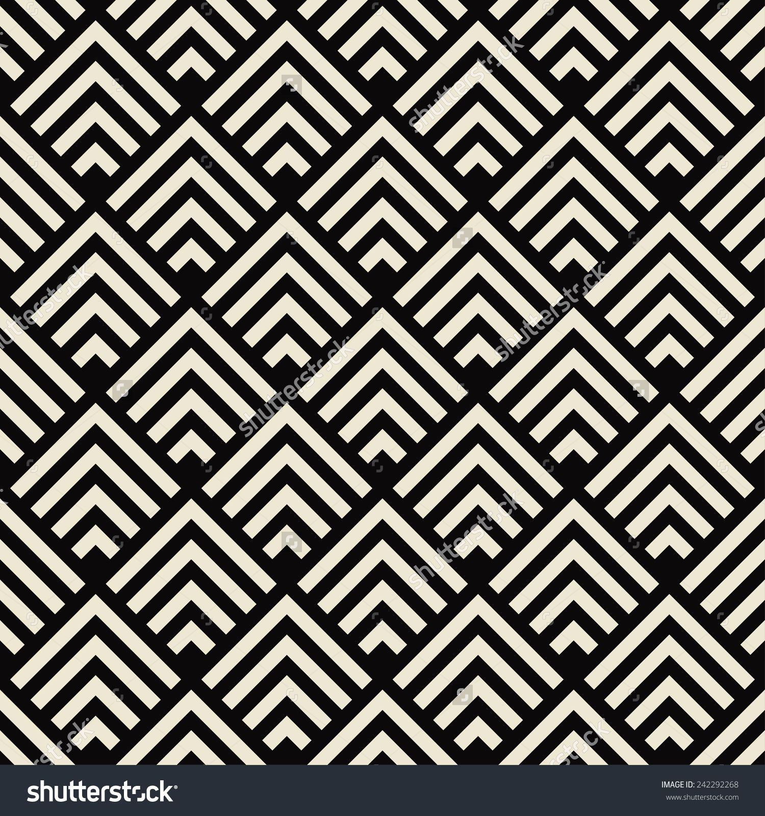 Art Deco Black And White Texture. Seamless Geometric Pattern ...