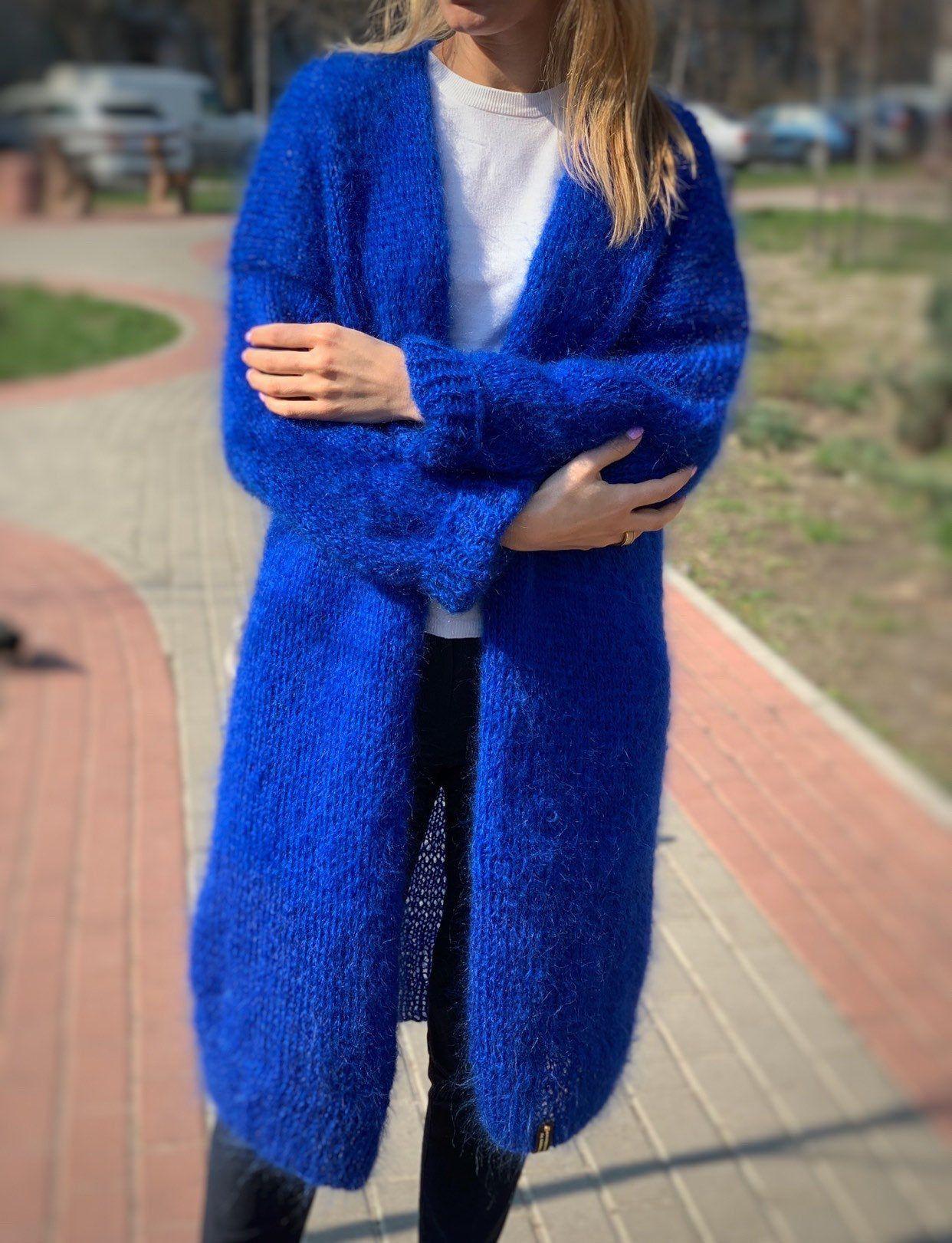 CARDIGAN Women Mohair Blue, Wool long cardigan, Mohair Cardigan, Chunky cardigan, Open front cardigan, 100% hand made