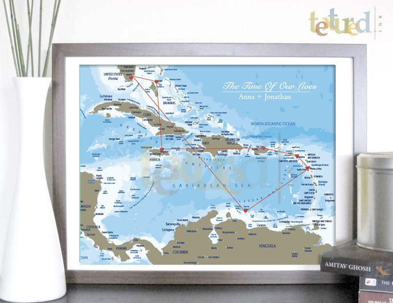 Netherlands Ns Map%0A Travel Print  Caribbean Personalized Travel Map    X   Inches  Gift   Honeymoon  Travel