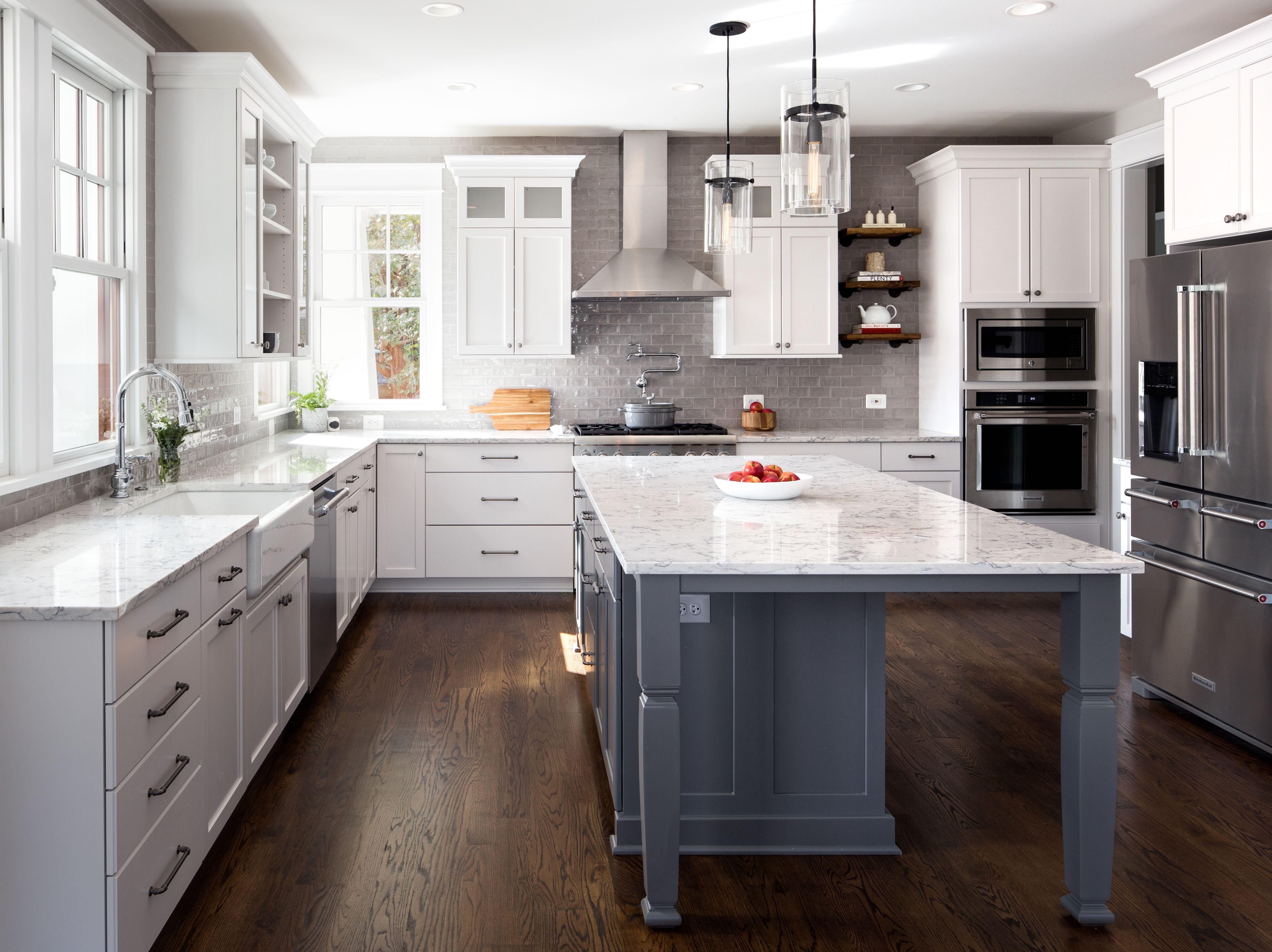 modern farmhouse kitchen white cabinets gray island gray and white quartz black pendant on farmhouse kitchen gray id=71568