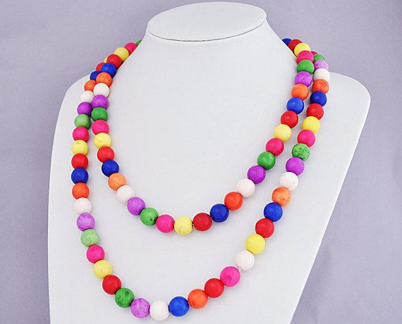 Long Multi-color Necklace, $22.00, via Etsy.