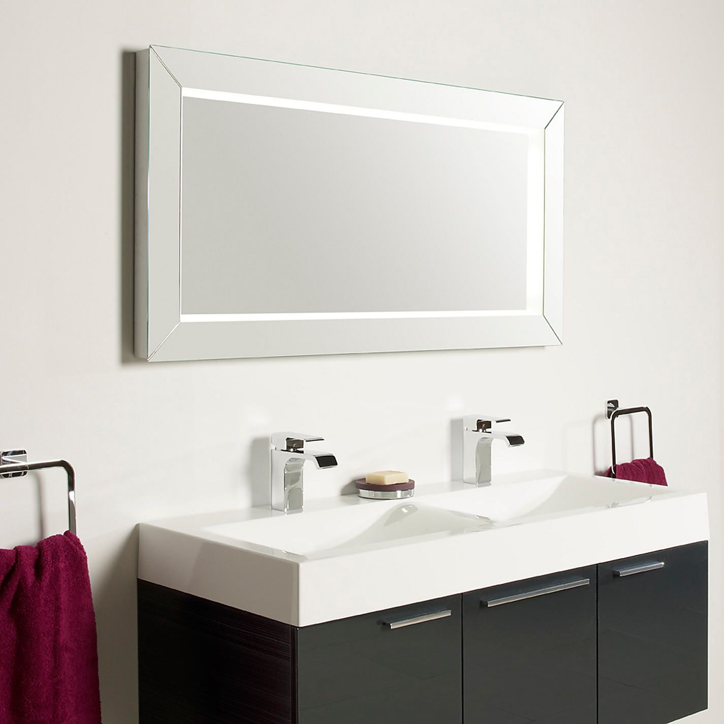 Bathroom Rectangular Bathroom Mirror With Wood Framed Over Bathroom Vanity And Completed With Bathroom Mirror Lights Minimalist Bathroom Design Modern Faucet [ 1425 x 1425 Pixel ]