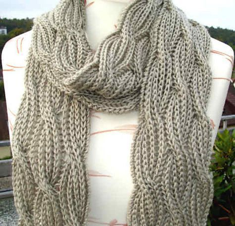 Free Knitting Pattern For Reversible Cabled Brioche Scarf And More