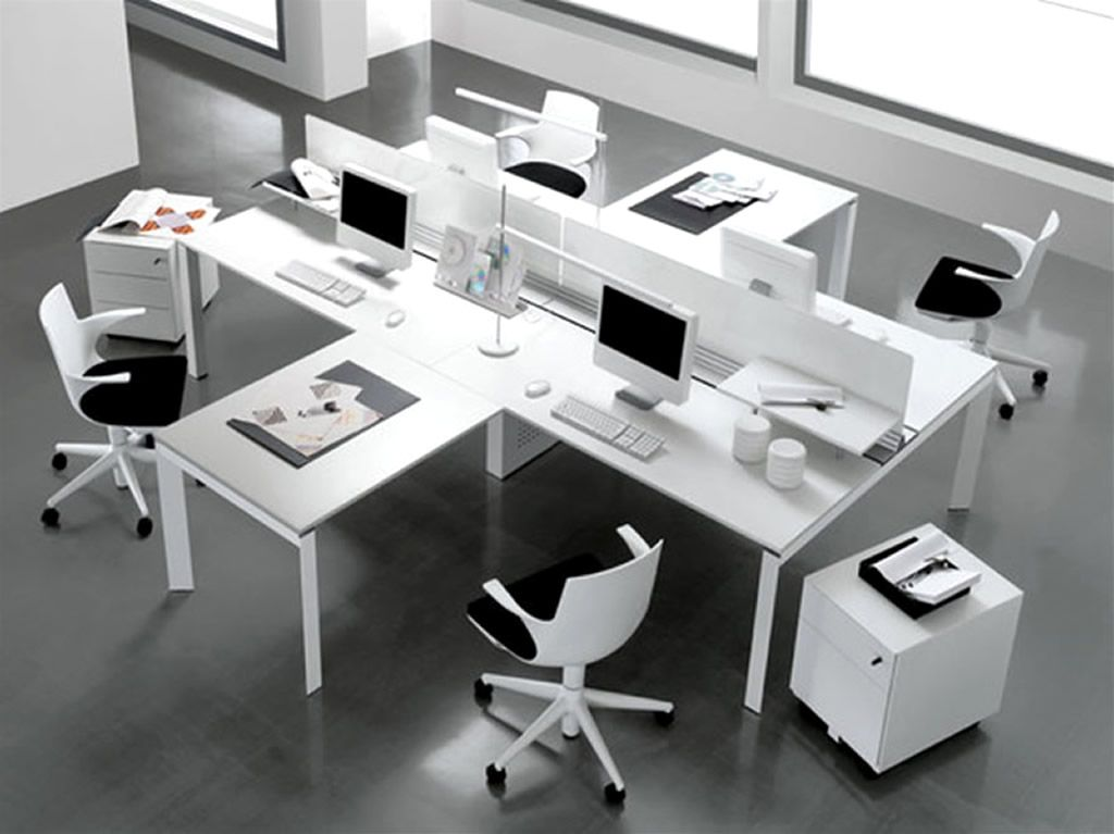 Modern office interior design of entity desk by antonio morello four area for working space - Modern desks small spaces decoration ...