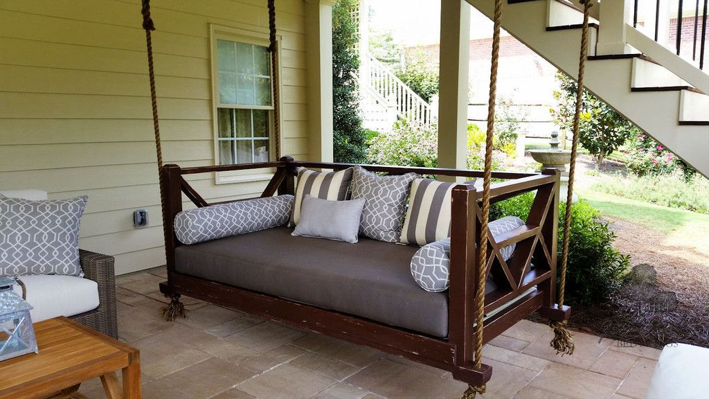 The Seaside Hanging Daybed Porch Swing Four Oak Designs