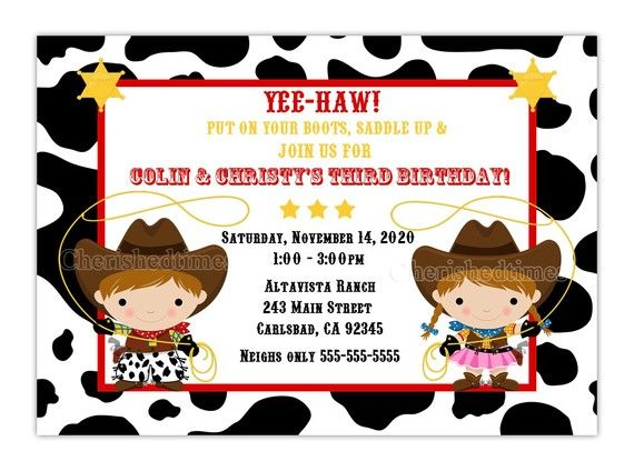 Little Cowboy Or Twins Birthday Invitation You By Cherishedtimes 14 00 Cowgirl Invitations Cowgirl Birthday Invitations Cowgirl Birthday Invitations Free