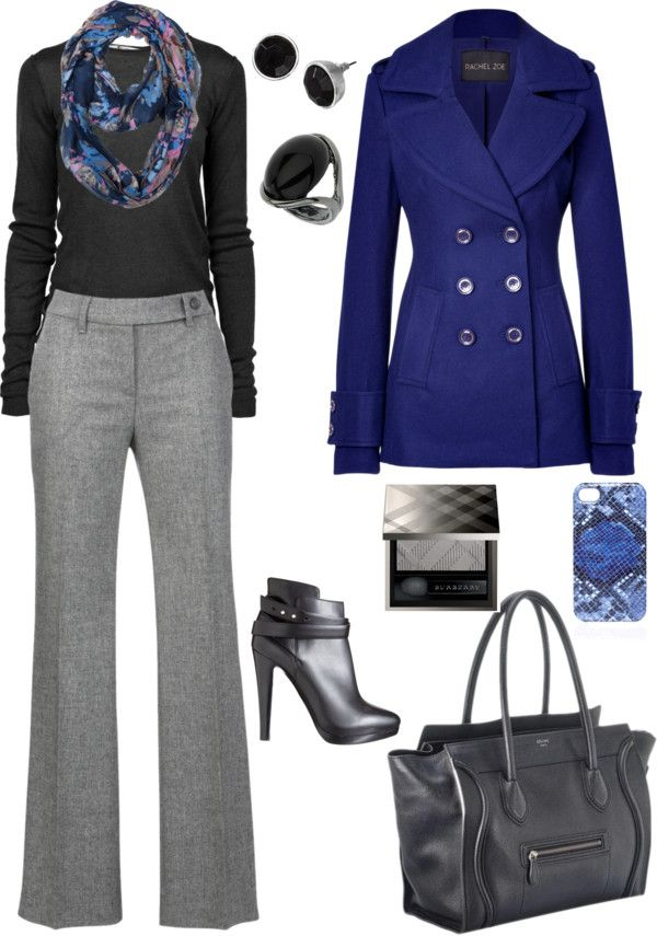 blue winter  grey pants outfit fashion business casual