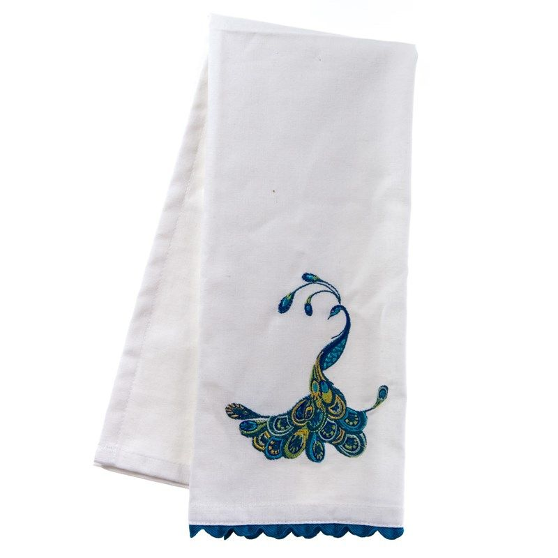 NEW kitchen Tea Towel embroidered with PEACOCK