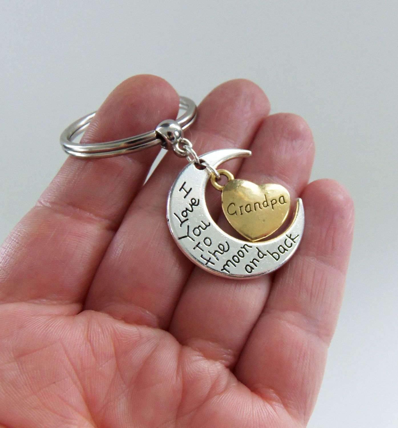 Dad I love you to the moon and back gold and silver tone keyring key ring