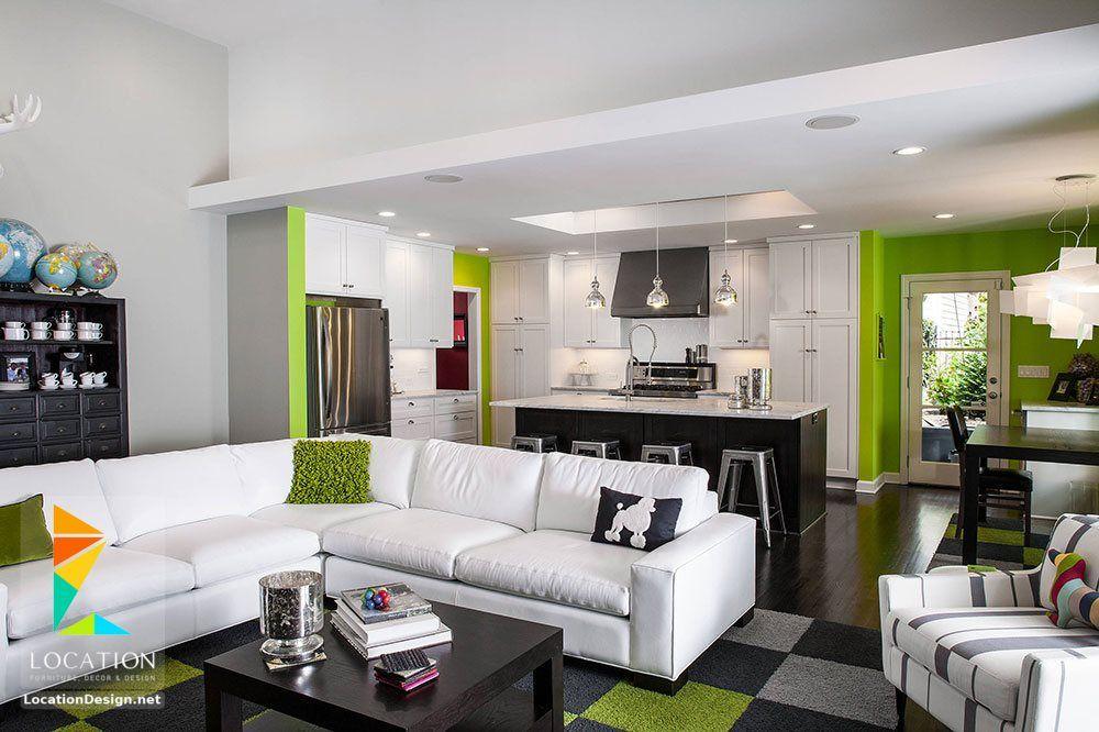 كولكشن مطابخ مفتوحه على الصاله للشقق الحديثة لوكشين ديزين نت Living Room And Kitchen Design Living Room Rug Placement Living Room Green