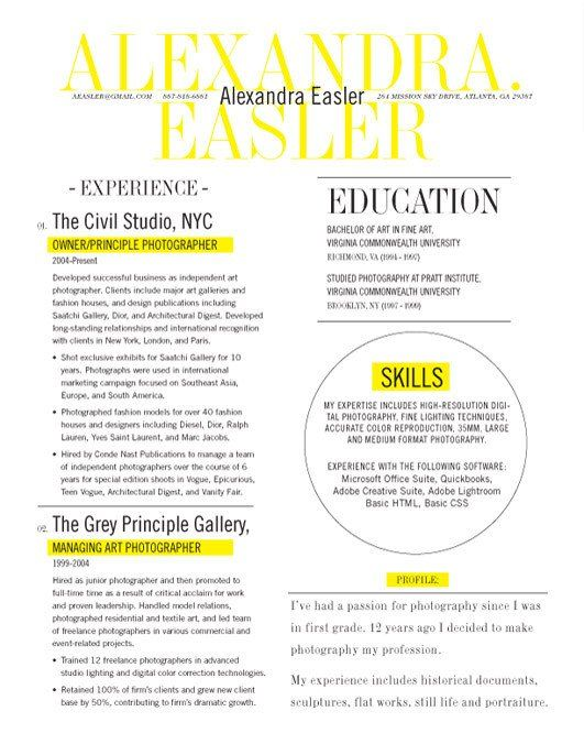 Resume Template New Yorker Yellow Loft Resumes