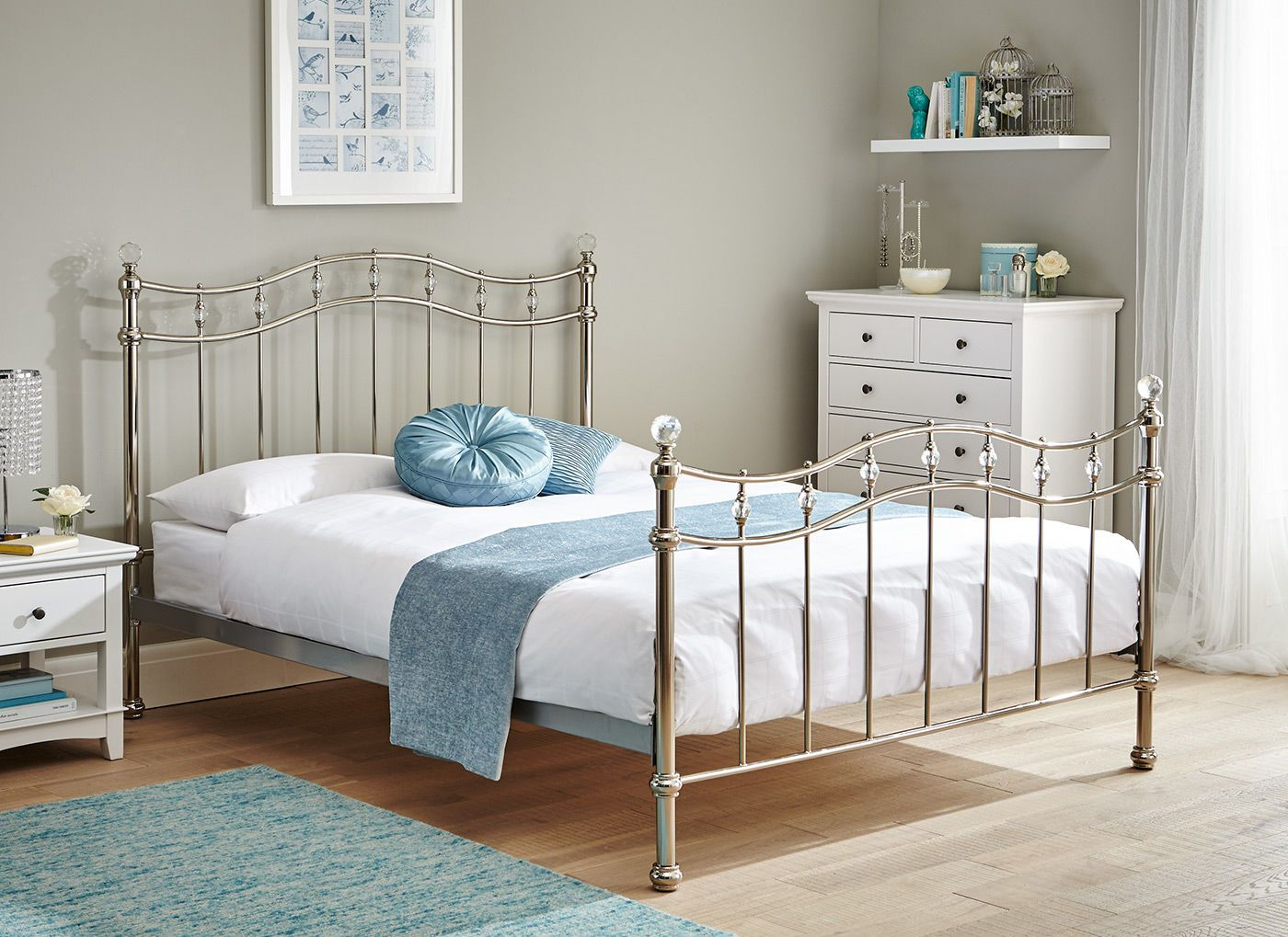Louis Chrome Metal Bed Frame Bedroom Pinterest Metal beds