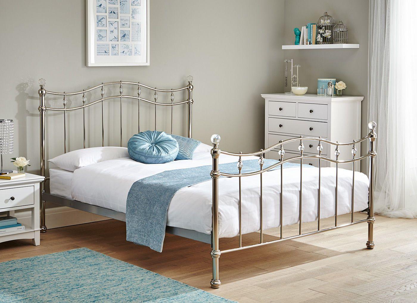 Louis Chrome Metal Bed Frame Divan Hogar