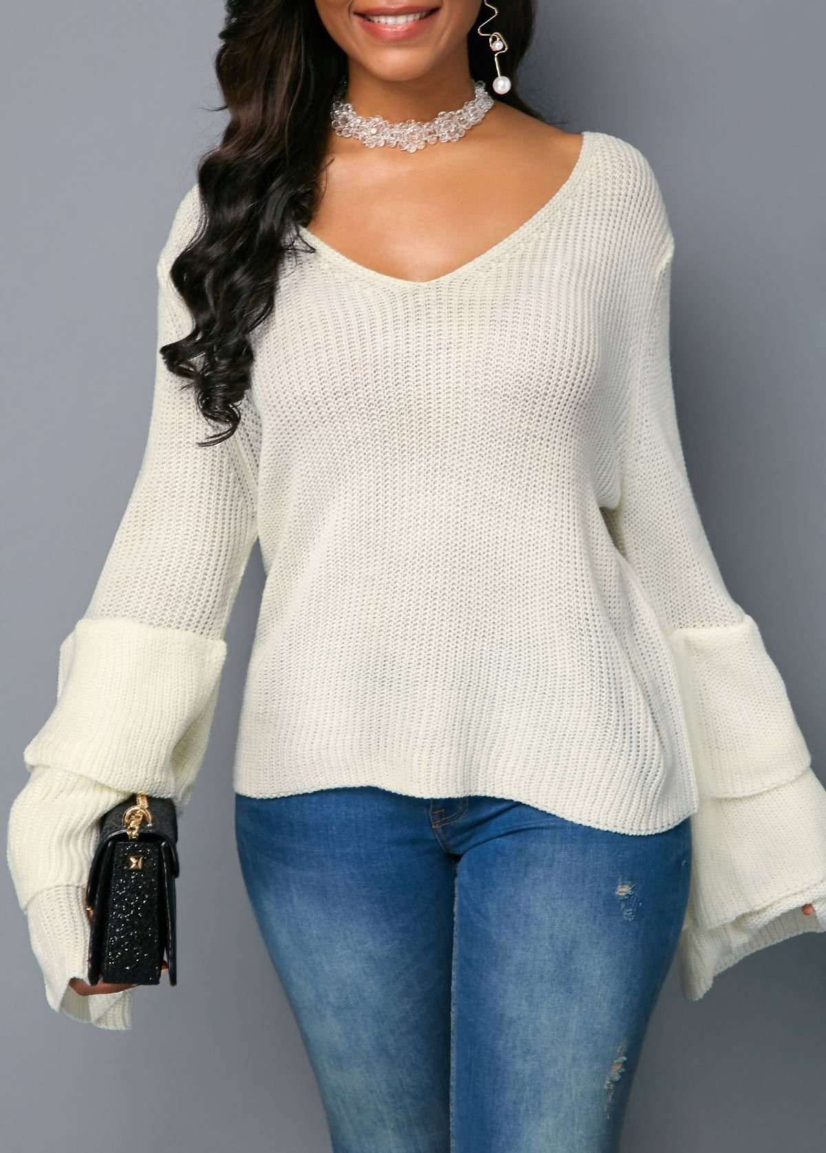 5d2726e14b9 Layered Bell Sleeve White Pullover Sweater