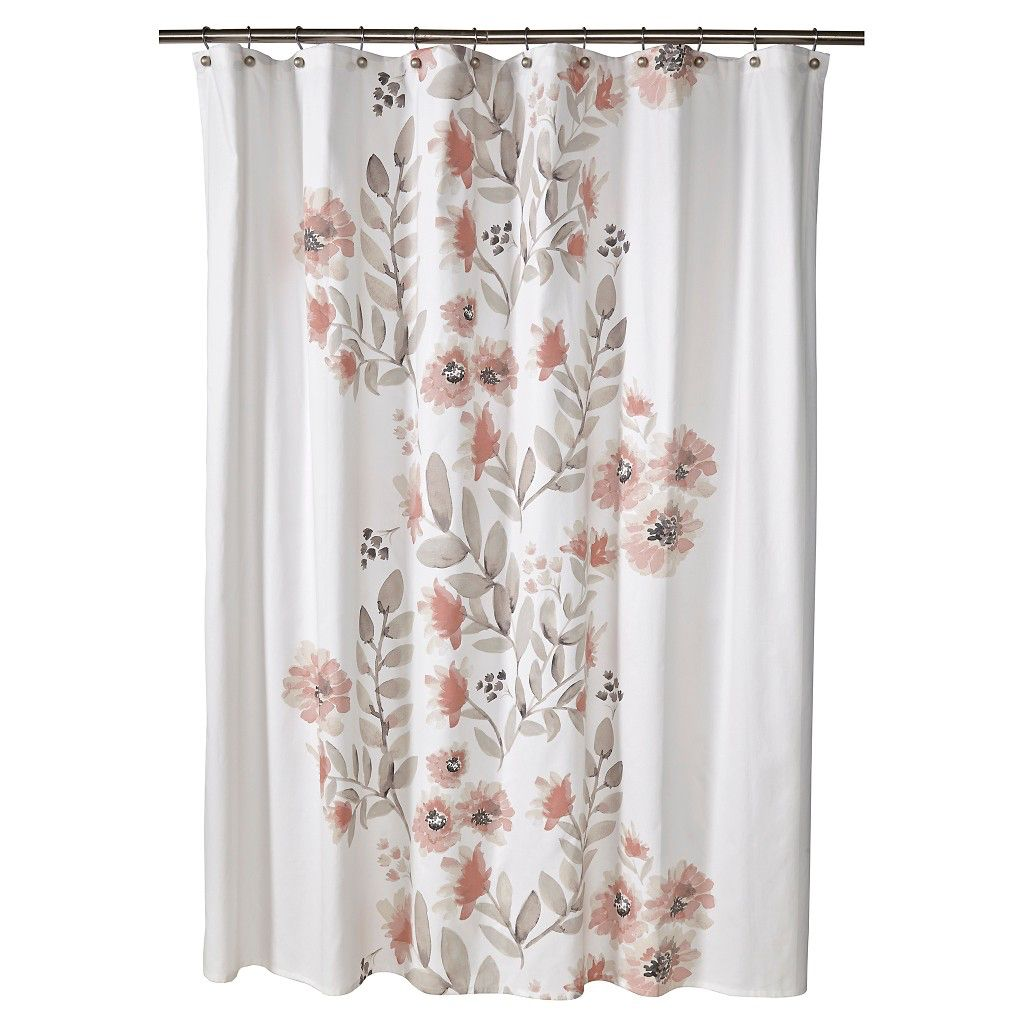 target threshold coral watercolor shower curtain