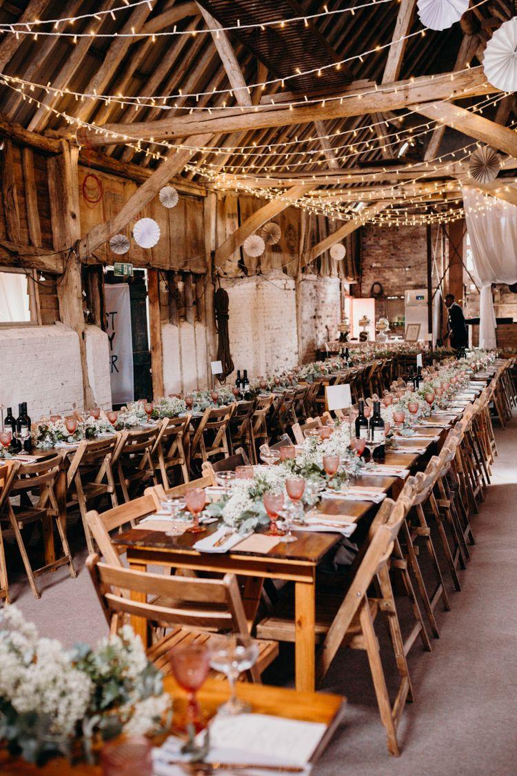 Fairy light wedding decoration ideas  Creative Hertfordshire Barn Boho DIY Wedding  All about Wedding