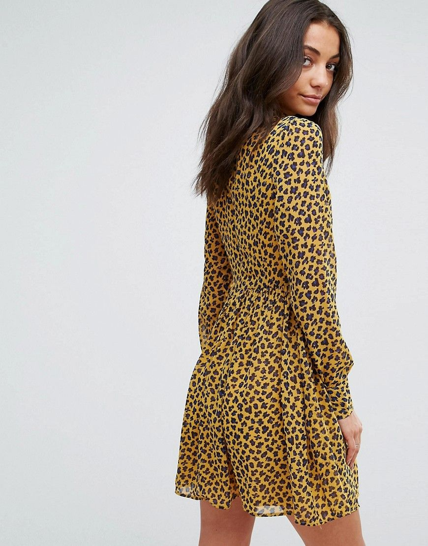 a3c1050df02e Fashion Union Tall High Neck Neck Skater Dress In Leopard Print - Mult