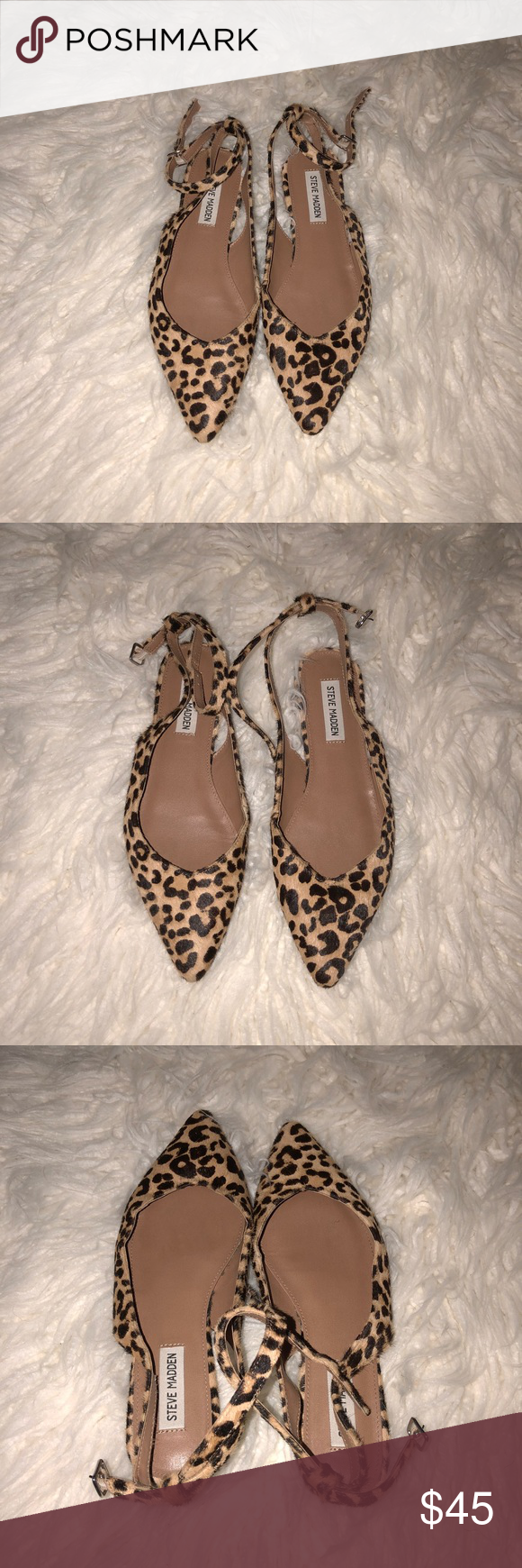 30ec8948455f0 {Steve Madden} Chic Leopard Ankle Strap Flats. The chic Steve Madden® Cupid  flat might just shoot an arrow right through your heart! Haircalf upper.