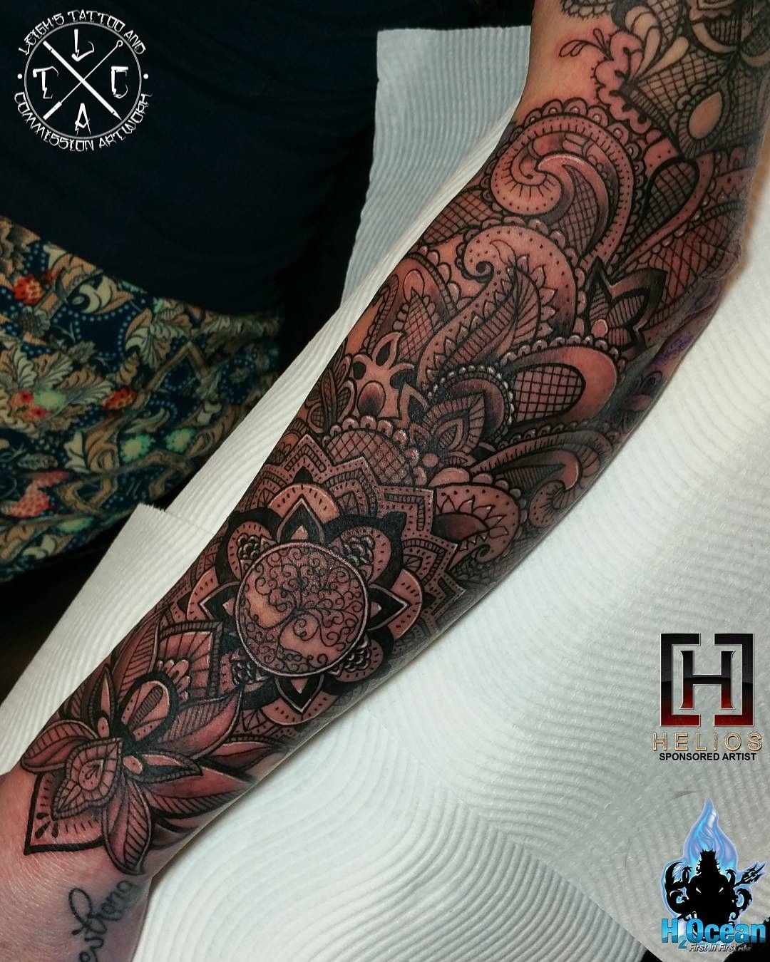 Forearm Section Of The Mandala Lace Sleeve Insta Leigh Tattoos For All Bookings An Enquiries Contact Directly At Fb Leighs Lace Tattoo Tattoo Work Tattoos
