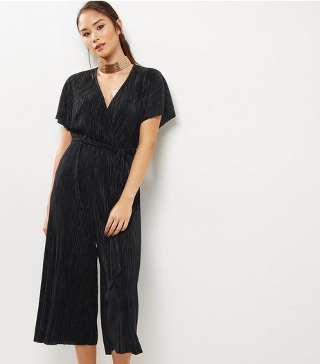cf9fae647fbe Black Pleated Wrap Front Culotte Jumpsuit