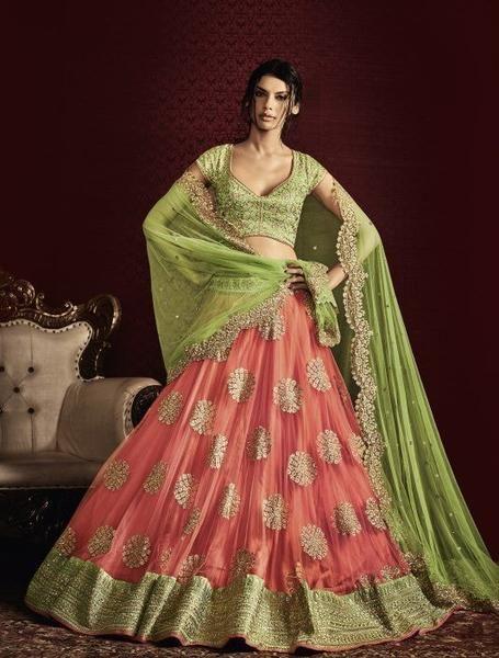 7ebe117f8080 Green   Pink Netted Latest Lehenga Online Shopping