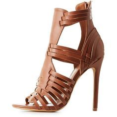 Charlotte Russe Caged Huarache Sandals (50 CAD) ❤ liked on Polyvore featuring shoes, sandals, cognac, strappy sandals, caged faux leather sandals, cut out sandals, vegan sandals and caged sandals