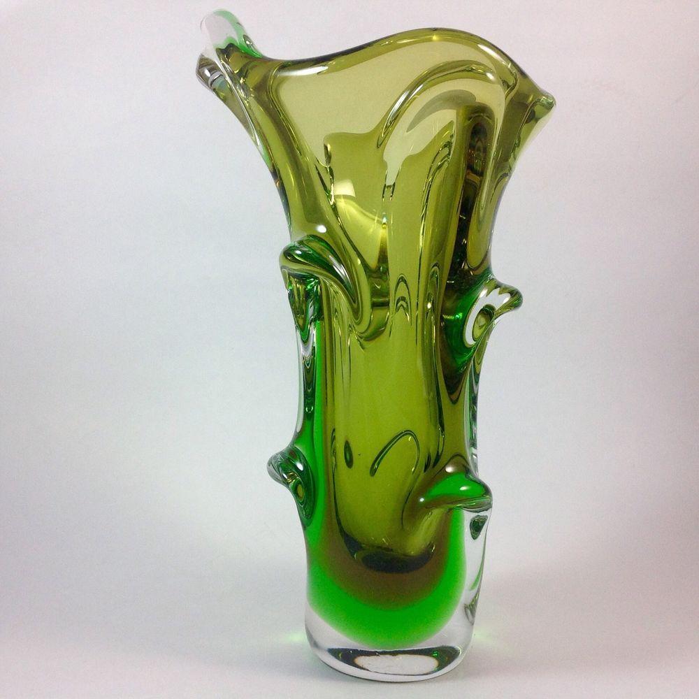 Fab mid century 12 chalet murano canada green art glass vase fab mid century 12 chalet murano canada green art glass vase heavy excellent reviewsmspy