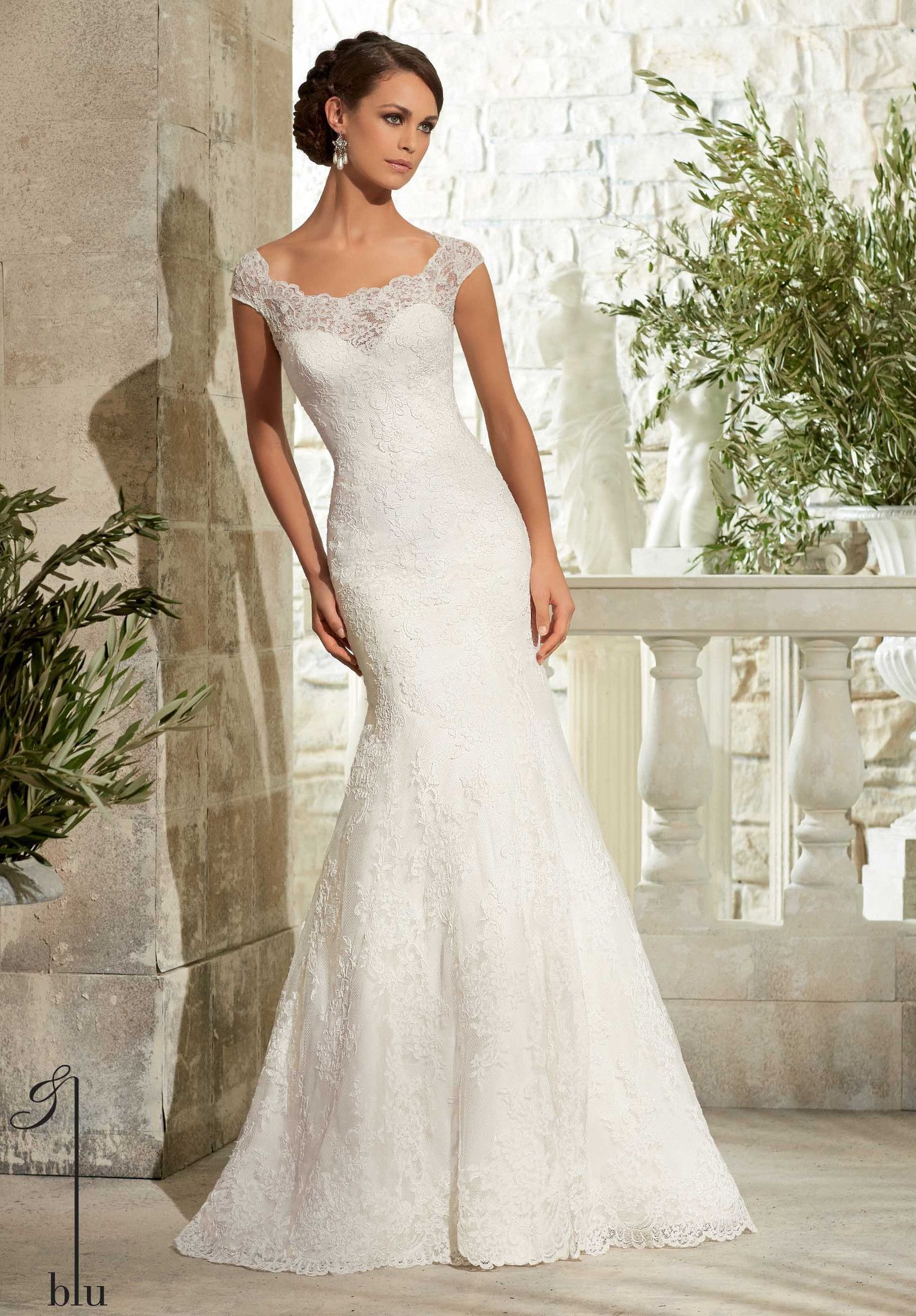 Blu by Mori Lee 5310 Lace Fit and Flare Wedding Dress