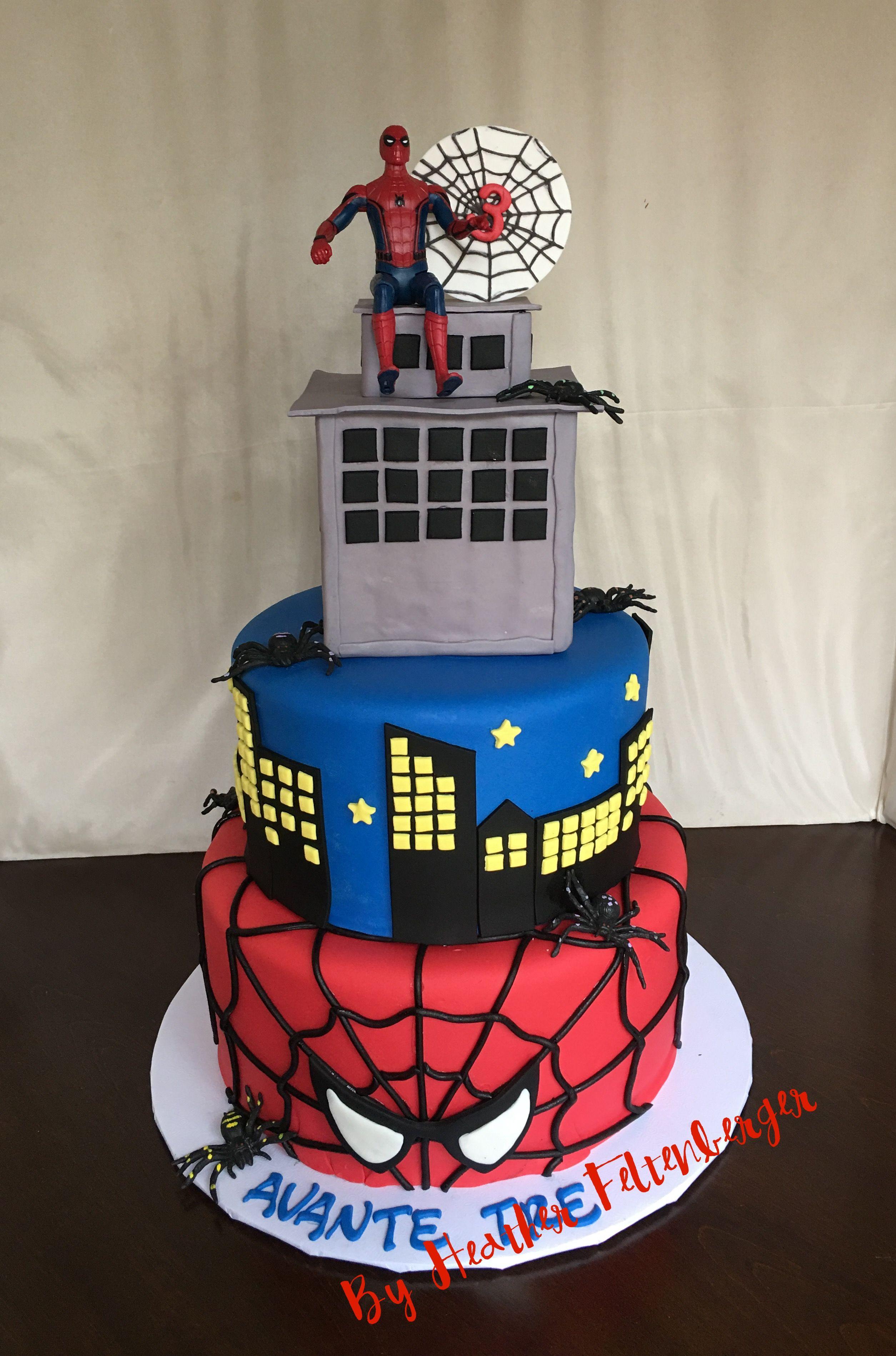 3 Tier Spider Man Birthday Cake My Cakes Pinterest Men